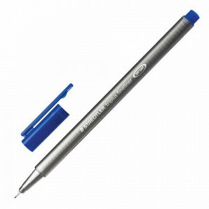 """Ручка капиллярная (линер) STAEDTLER """"Triplus Fineliner"""", СИНЯЯ, трехгранная, линия письма 0,3 мм, 334-3"""