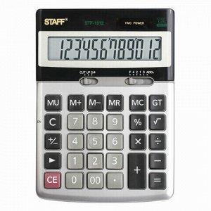 Калькулятор настольный металлический STAFF STF-1312 (170х125 мм), 12 разрядов, двойное питание, 250119