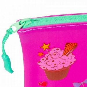 "Папка для тетрадей A5 BRAUBERG, мягкий, водонепроницаемая молния, ""Cupcakes"", 25х20 см, 229260"