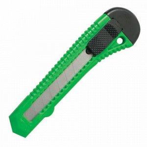 "Нож канцелярский 18 мм STAFF ""Basic"" фиксатор, цвет корпуса ассорти, упаковка с европодвесом, 230485"