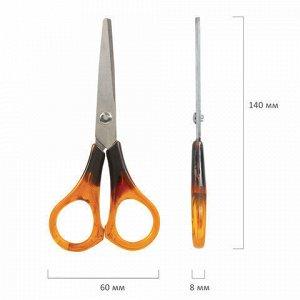 """Ножницы STAFF """"Basic"""" 140 мм, ручки под янтарь, ПВХ чехол с европодвесом, 236936"""