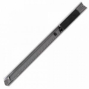 "Нож канцелярский 9 мм STAFF ""Manager"", усиленный, металлический корпус, автофиксатор, клип, 237081"