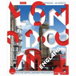 "Тетрадь А5, 48 л., HATBER, скоба, линия, обложка картон, ""Hello, England!"" (1 вид), 48Т5В2_20093"