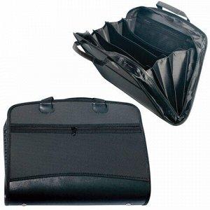 Папка-портфель пластиковая BRAUBERG А4+ (375х305х60 мм), 4 отделения, 2 кармана, на молнии, черный, 225169