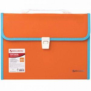 """Папка-портфель пластиковая BRAUBERG """"JOY"""", А4 (330х245х35 мм), 13 отделений, с окантовкой, оранжевая, 227975"""