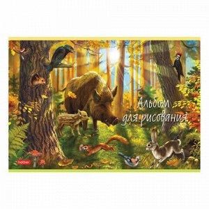 """Альбом для рисования, А4, 20 листов, скоба, обложка картон, HATBER, 205х290 мм, """"В сказочном лесу"""" (5 видов), 20А4В"""