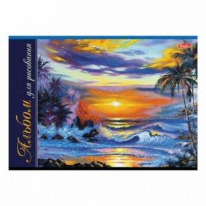 Альбом для рисования, А4, 24 листа, скоба, обложка картон, HATBER, 205х290 мм, Ассорти (5 видов), 24А4В