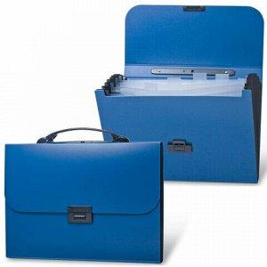 """Папка-портфель пластиковая BRAUBERG """"Energy"""" А4 (330х256х32 мм), 7 отделений, синяя, 222572"""