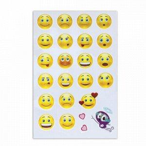 """Наклейки зефирные """"Смайлики"""", многоразовые, 10х15 см, ЮНЛАНДИЯ, 661789"""