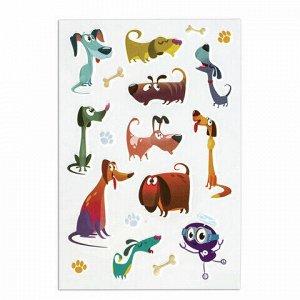 """Наклейки зефирные """"Собачки"""", многоразовые, 10х15 см, ЮНЛАНДИЯ, 661790"""