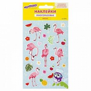 """Наклейки зефирные """"Фламинго"""", многоразовые, 10х15 см, ЮНЛАНДИЯ, 661794"""