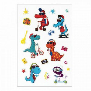 """Наклейки зефирные """"Динозавры"""", многоразовые, 10х15 см, ЮНЛАНДИЯ, 661799"""