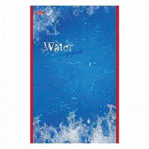 """Блокнот А5 (135х205 мм), 48 л., скоба, картон, выборочный лак, клетка, HATBER, """"Water"""" (""""Вода""""), 48Б5вмB3 03976, B023235"""
