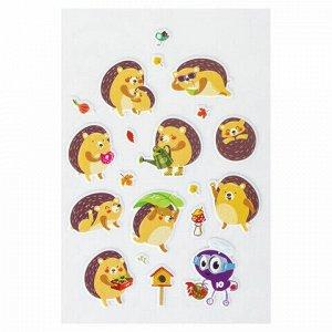 """Наклейки зефирные """"Ежики"""", многоразовые, 10х15 см, ЮНЛАНДИЯ, 661804"""