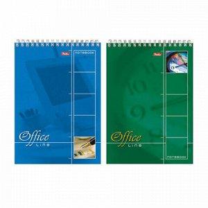 """Блокнот А5 (145х205 мм), 60 л., спираль, картон, жесткая подложка, клетка, HATBER, """"Office Line"""", 60Б5B1сп, B014042"""