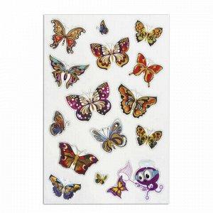 """Наклейки гелевые """"Яркие бабочки"""", многоразовые, с тиснением фольгой, 10х15 см, ЮНЛАНДИЯ, 661813"""