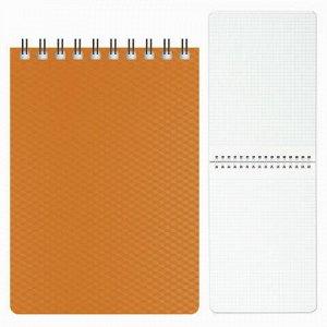 "Блокнот МАЛЫЙ ФОРМАТ (110х145 мм) А6, 80 л., гребень, пластиковая обложка, клетка, HATBER, ""DIAMOND"", оранжевый, 80Б6B1гр, B165829"