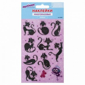"""Наклейки гелевые """"Кошки"""", многоразовые, с блестками, 10х15 см, ЮНЛАНДИЯ, 661823"""