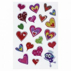 """Наклейки зефирные """"Сердца"""", многоразовые, с блестками, 10х15 см, ЮНЛАНДИЯ, 661824"""