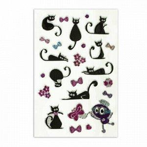 """Наклейки зефирные """"Кошки"""", многоразовые, с блестками, 10х15 см, ЮНЛАНДИЯ, 661825"""