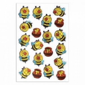 """Наклейки гелевые """"Весёлые пчёлки"""", многоразовые, голографические, 10х15 см, ЮНЛАНДИЯ, 661827"""