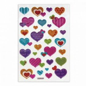 """Наклейки зефирные """"Сердца"""", многоразовые, с блестками, 10х15 см, ЮНЛАНДИЯ, 661831"""