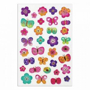 """Наклейки гелевые """"Бабочки и цветочки"""", многоразовые, с тиснением фольгой, 10х15 см, ЮНЛАНДИЯ, 661835"""