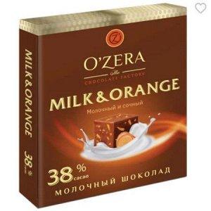 «OZera», шоколад молочный Milk & Orange, 90 г