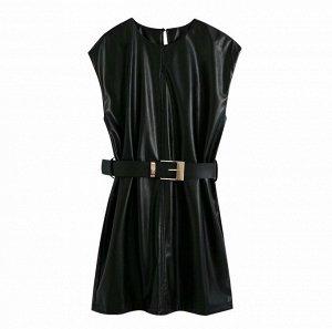 Платье из иск. кожи,черный