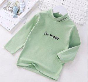 Детская кофта, цвет олива, надпись Im happy