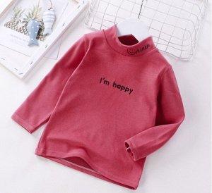 Детская кофта, цвет малина, надпись Im happy