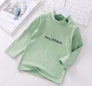 Детская кофта, цвет олива, надпись Hey Children