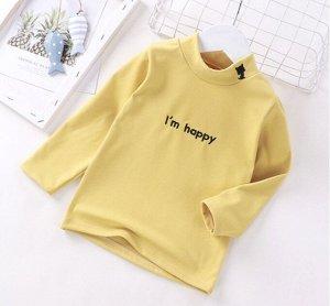 Детская кофта, цвет жёлтый, надпись Im happy