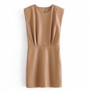 Платье из иск. кожи, песочный