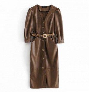 Платье из иск. кожи с ремнем, коричневый