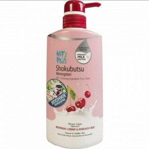 "LION ""Shokubutsu"" Крем-гель для душа 500мл ""Вишня и молочко Хоккайдо""Whitening Cherry & Hokkaido Milk"""