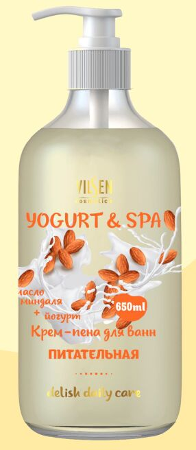 "YOGURT & SPA Крем-пена для ванн ""Масло миндаля + Йогурт"" питательная 650мл"