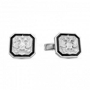 Запонки из серебра с эмалью родированные - Герб 140023р