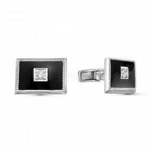 Запонки из серебра с эмалью и фианитами родированные 141025р