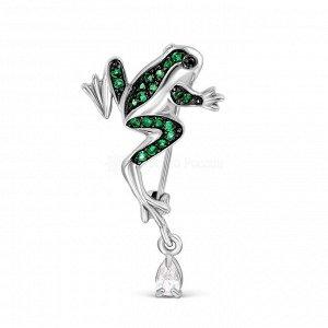 Брошь из серебра с фианитами родированная - Лягушка бр-216рч21632