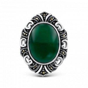 Брошь-кулон из чернёного серебра с нат.зелёным агатом и марказитами HB0792-GR