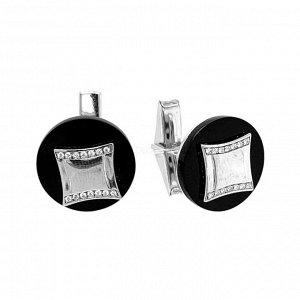 Запонки из серебра с ониксом родированные изп-206
