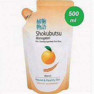 """LION """"Shokubutsu"""" Крем-гель для душа 500мл (мягкая упак) """"С апельсиновым маслом"""""""
