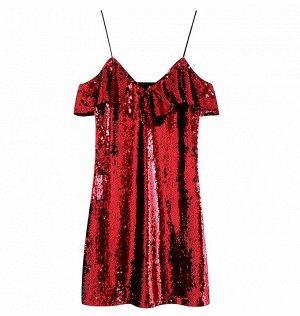 Платье с пайетками, красный