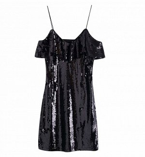 Платье с пайетками, черный
