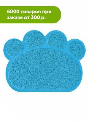 Коврик под туалет форма Лапки голубой 44*55см
