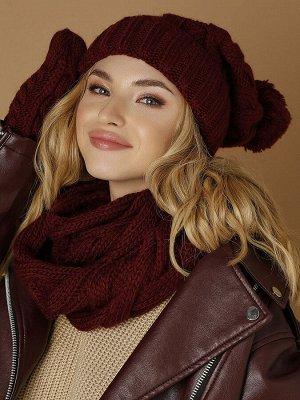 Комплект Комплект состоит из шапки Винни; объемного мягкого снуда Торри (размер 60х30) и теплых объемных варежек Накато. Комплект выполнен из мягкой меланжевой пряжи. Состав: шерсть 50%, акрил 50% ( Н