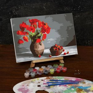 Картина по номерам на холсте с подрамником «Маки и клубника», 30х20 см