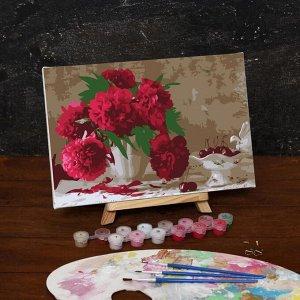 Картина по номерам на холсте с подрамником «Розовые пионы», 30х20 см