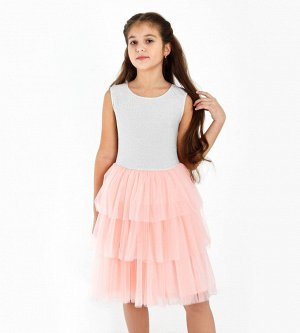 Платье для девочки, люрекс+сетка+кулирка